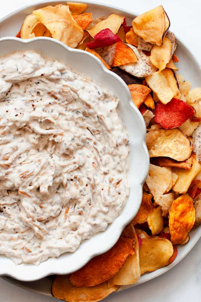 healthy french onion dip with chips