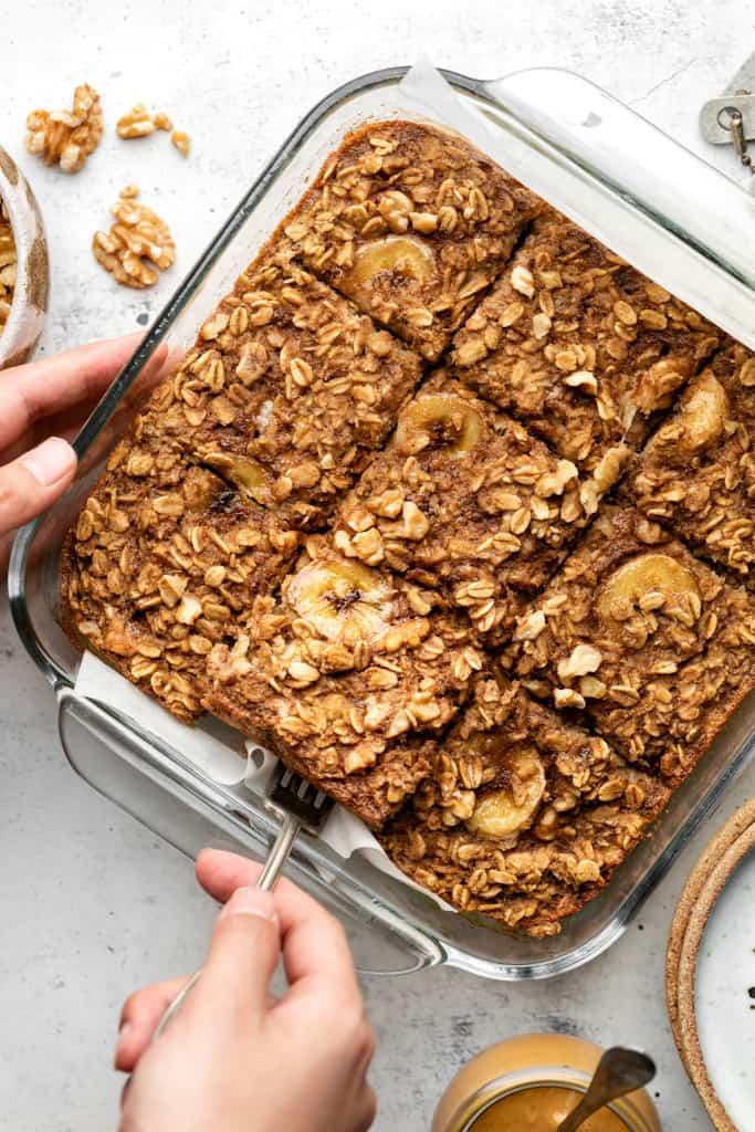cutting banana bread baked oatmeal