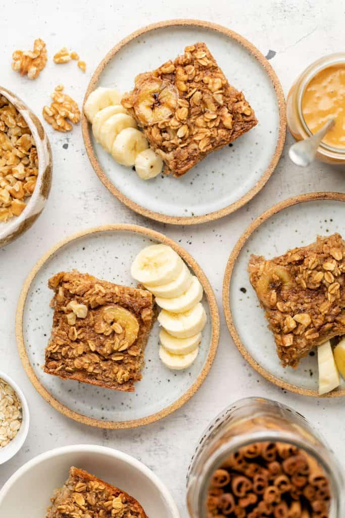 banana bread baked oatmeal on plates