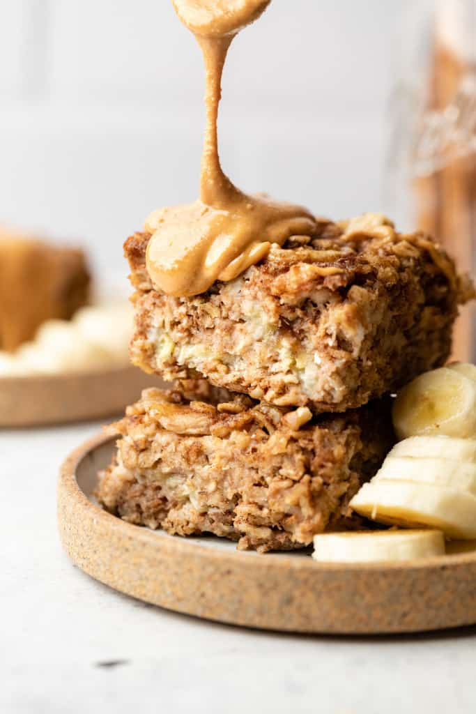 banana bread baked oatmeal with peanut butter