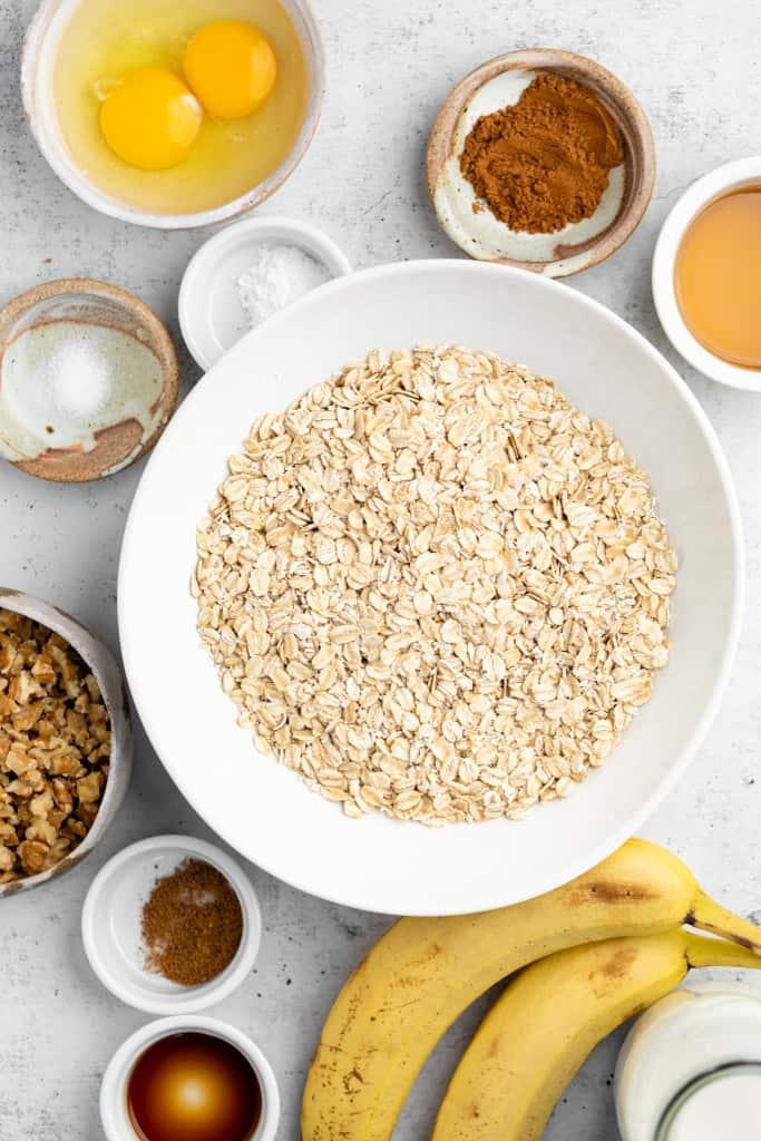 makings of banana bread baked oatmeal