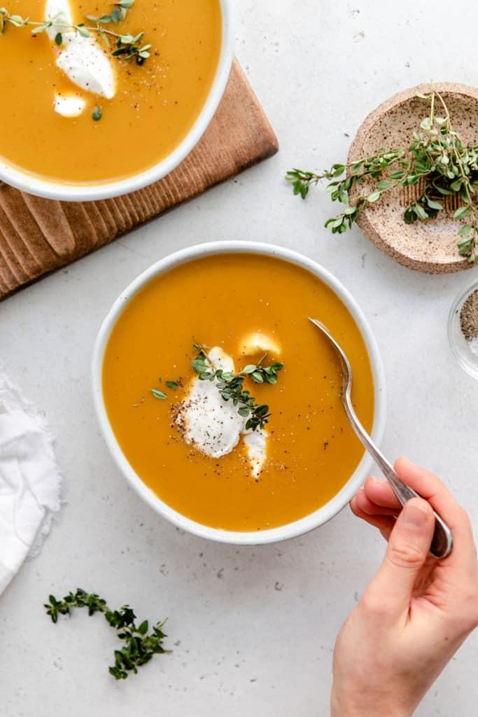 bowl of vegan butternut squash soup