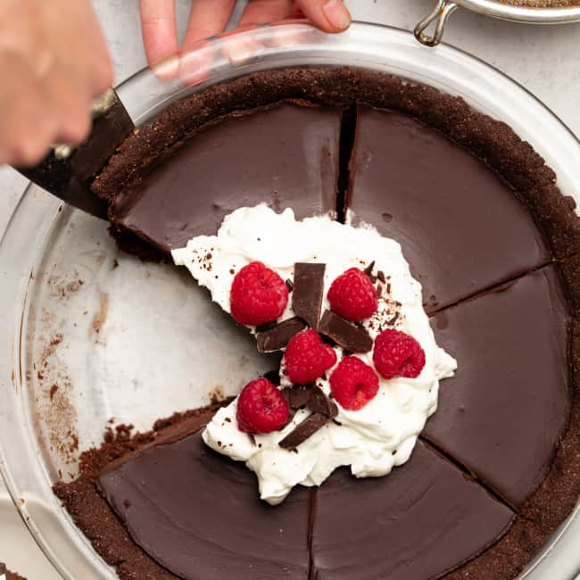 vegan chocolate tart in dish