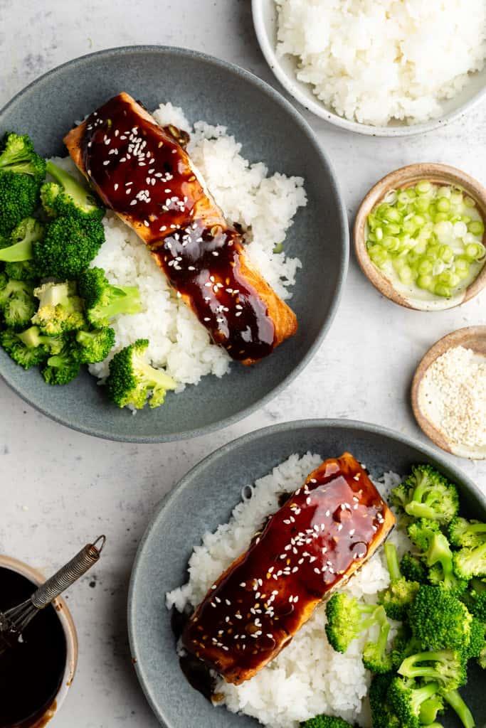 teriyaki salmon on plates