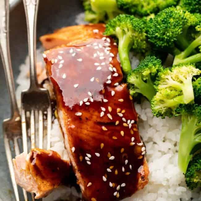 teriyaki salmon on rice