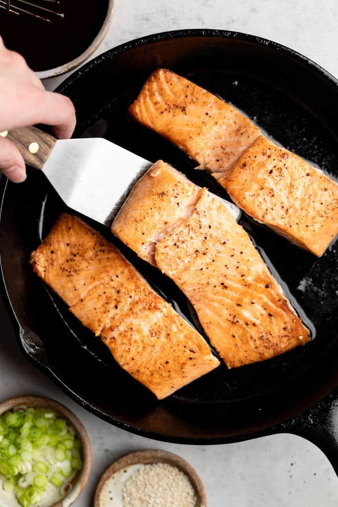 salmon filets in skillet