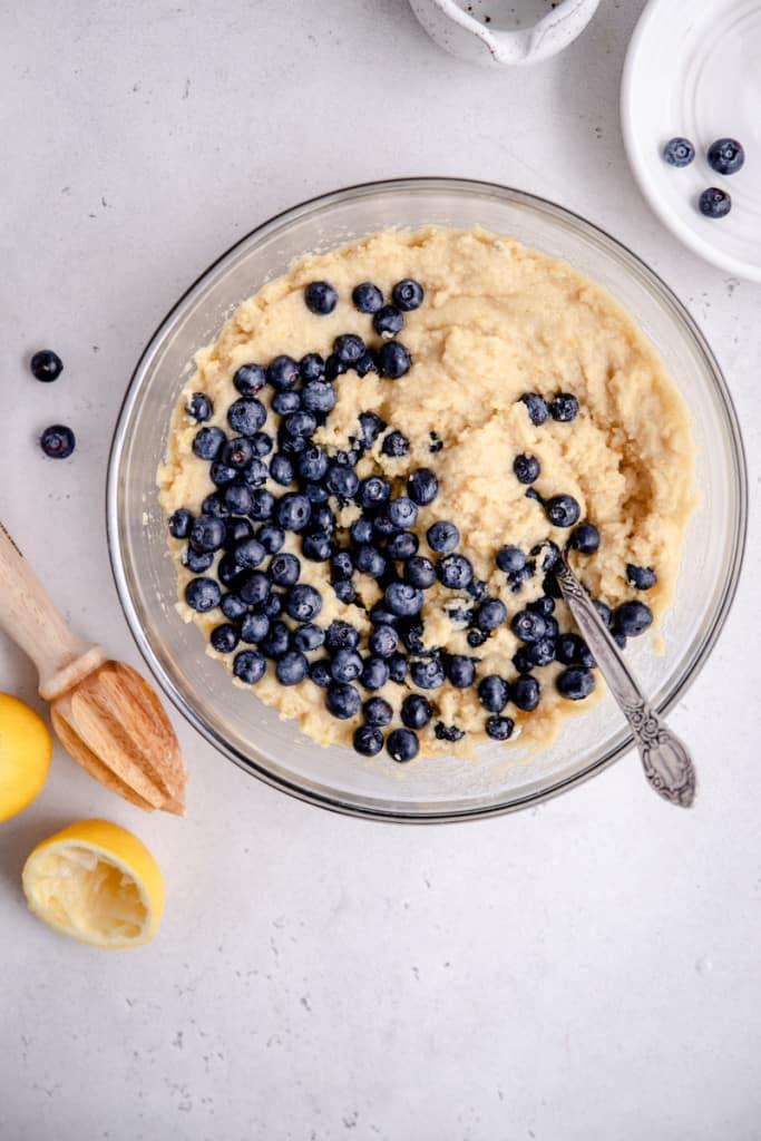 lemon blueberry coffee cake dough