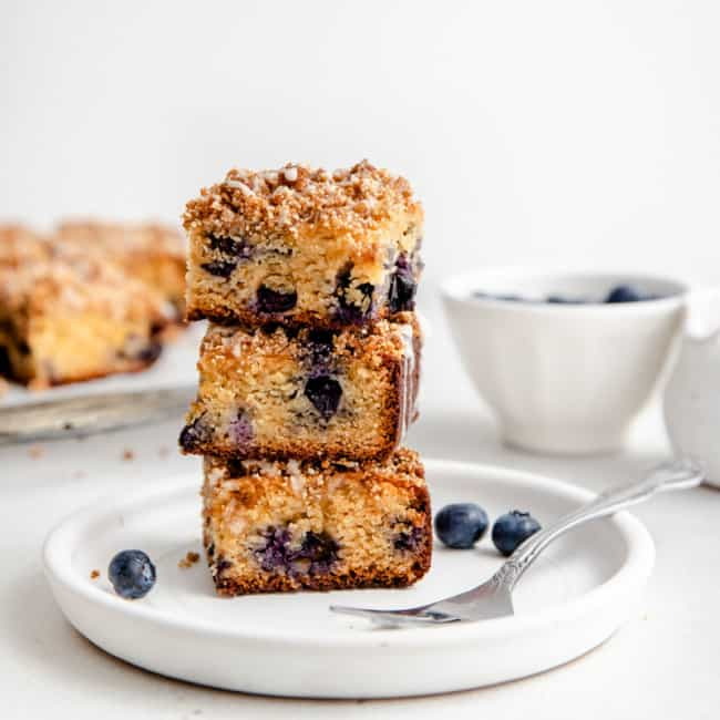 slices of lemon blueberry coffee cake