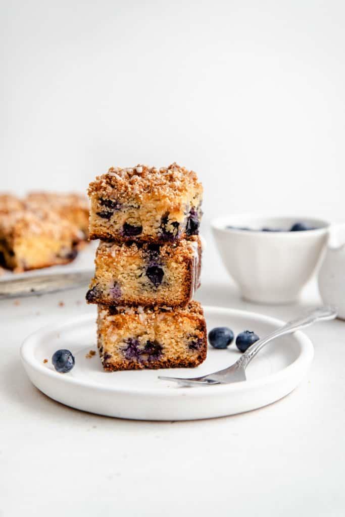 slices of lemon blueberry coffee cake