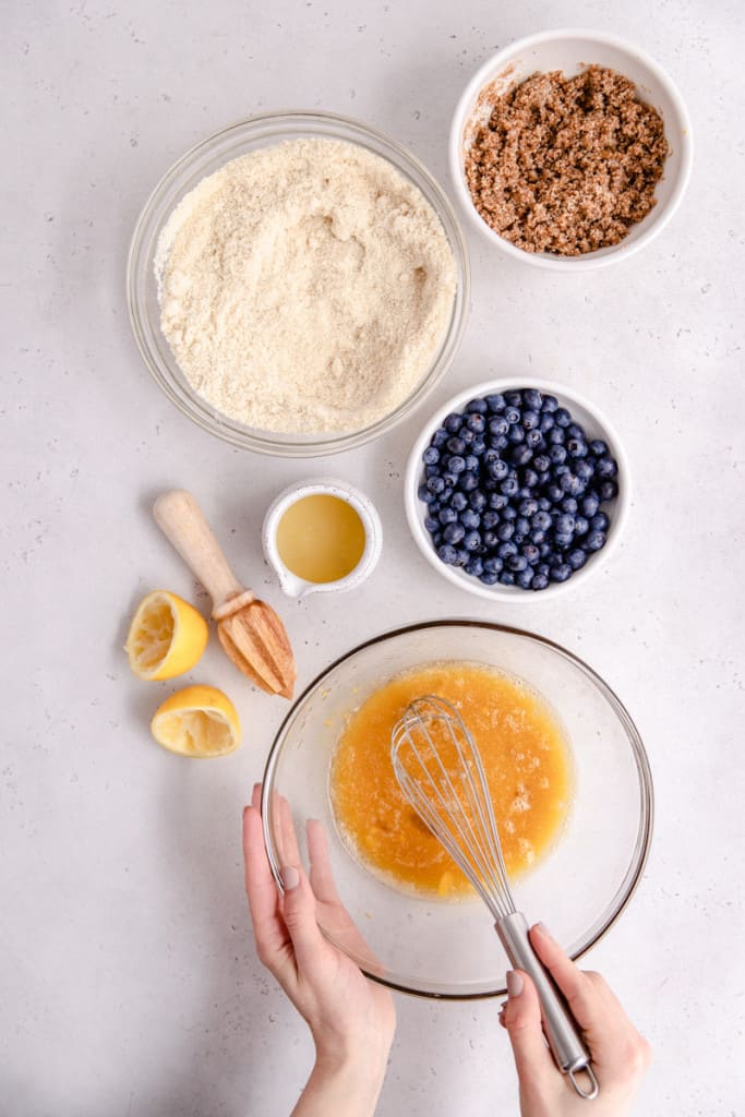 makings of lemon blueberry cake