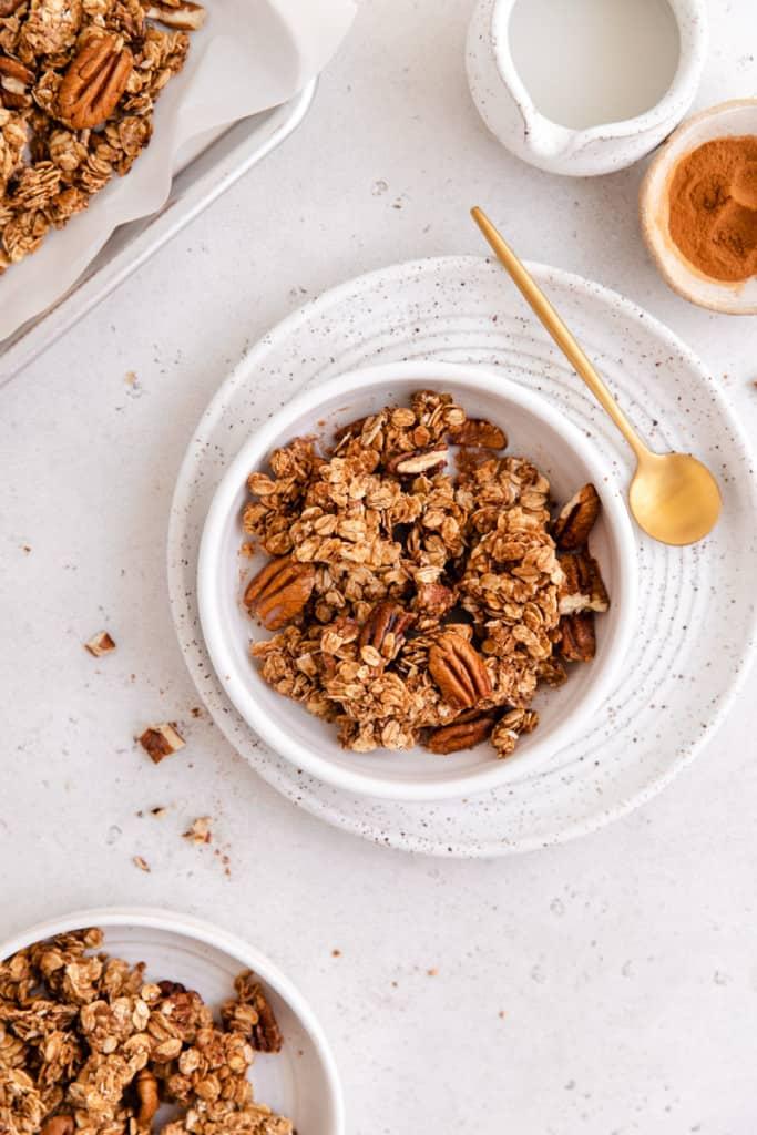 cinnamon toast granola in bowl
