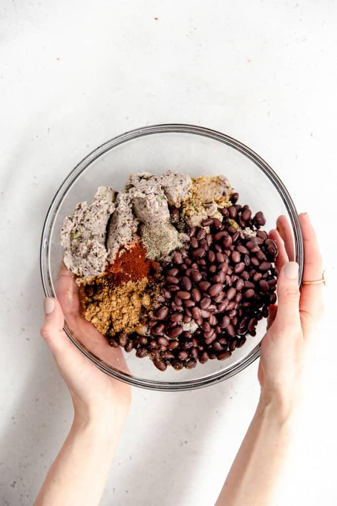 makings of black bean burgers