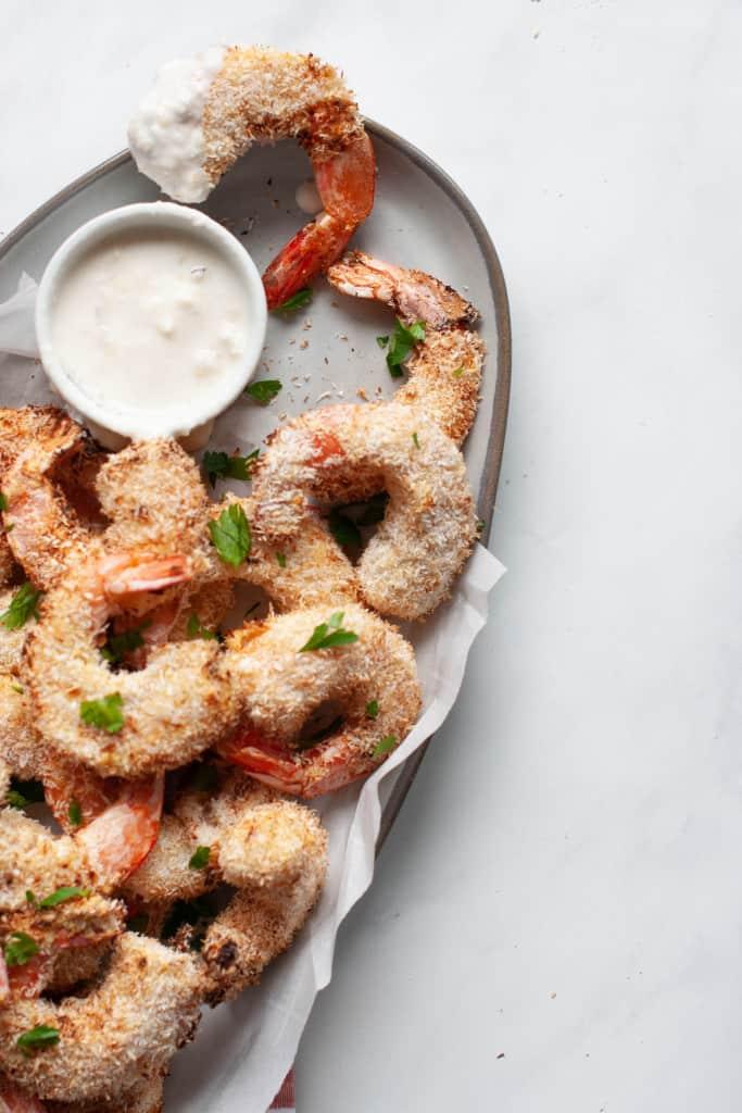 air fried coconut shrimp on plate