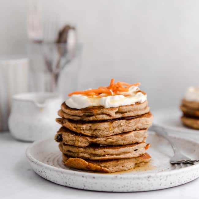 stack of carrot cake pancakes