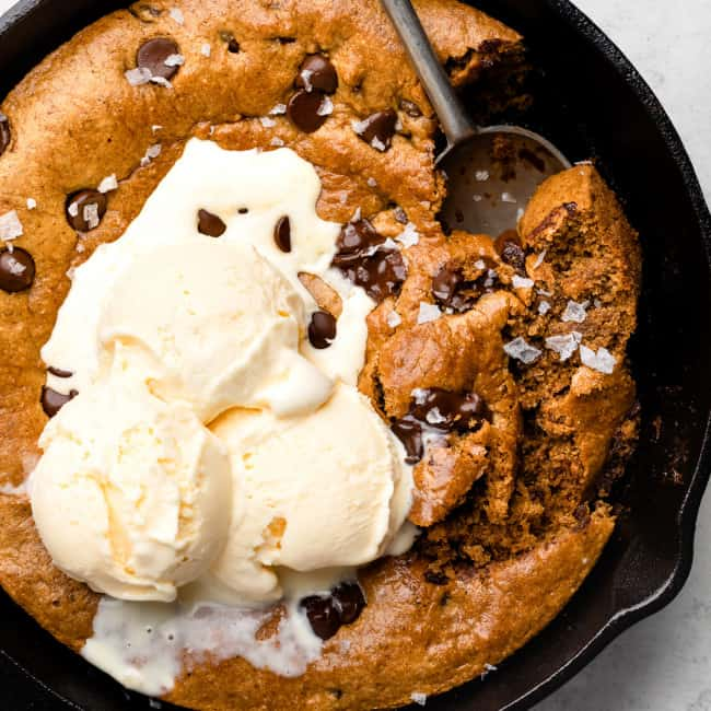 paleo cookie skillet with ice cream