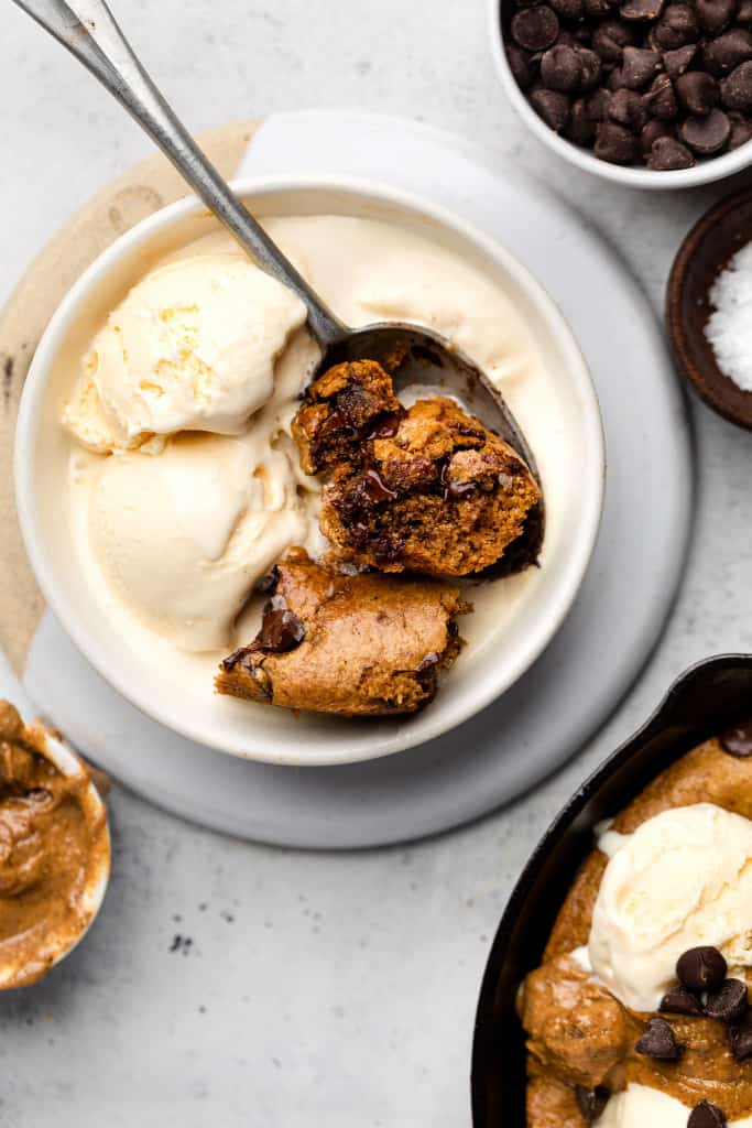 paleo cookie skillet on ice cream