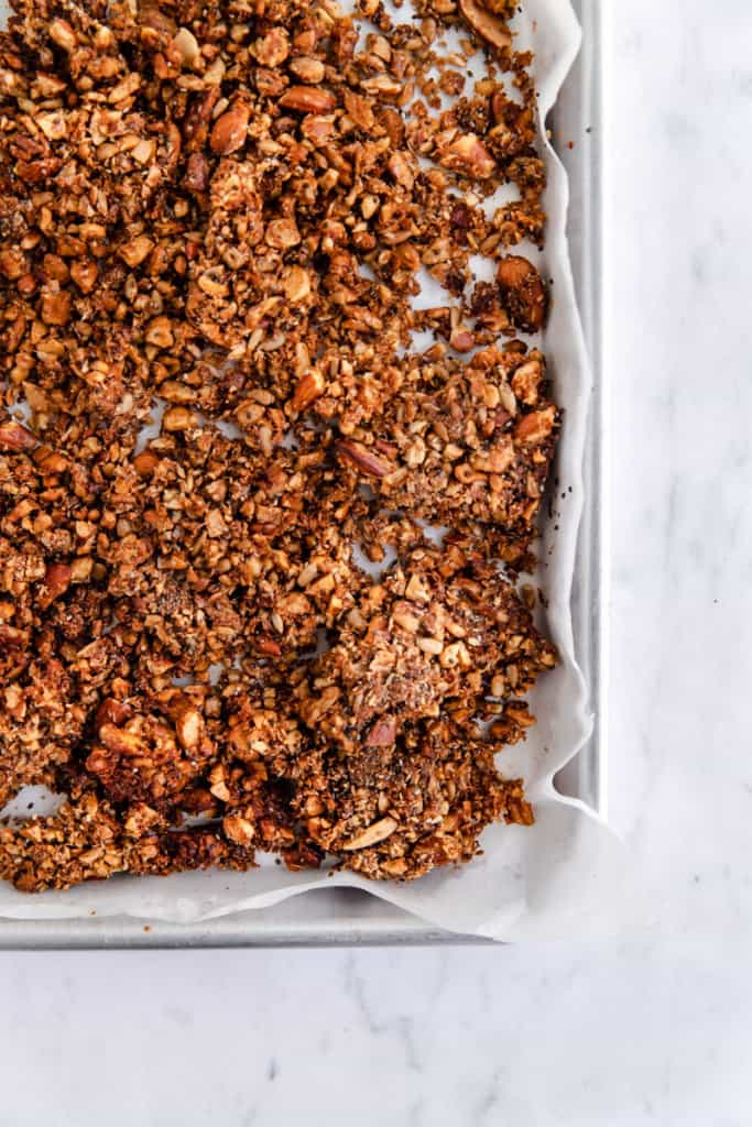 paleo granola on tray