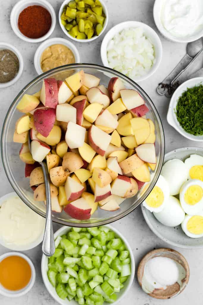 making of healthy potato salad