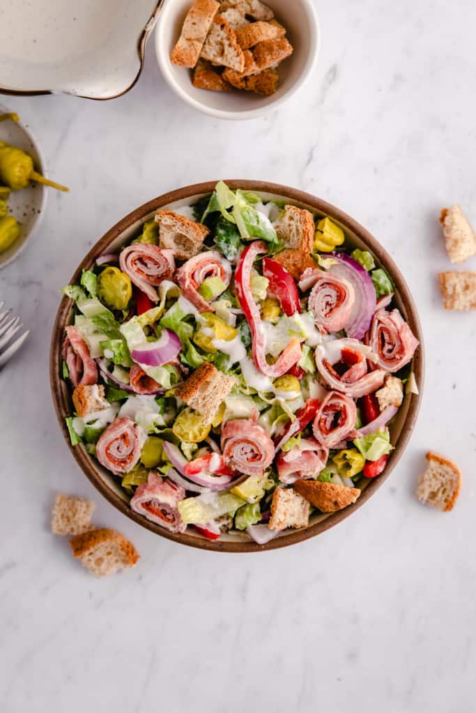 italian chopped salad in bowl