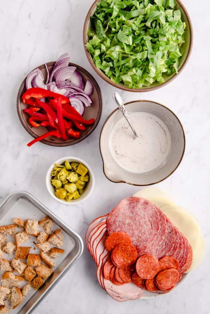 making italian chopped salad