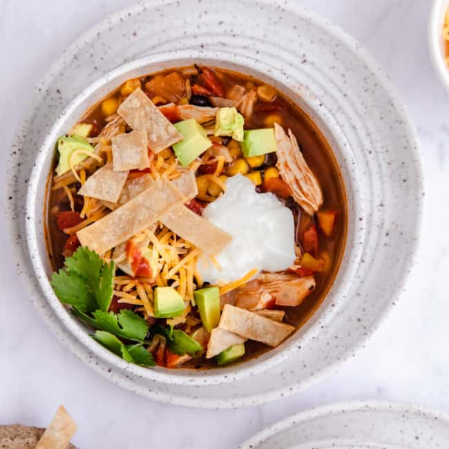 chicken tortilla soup in bowl