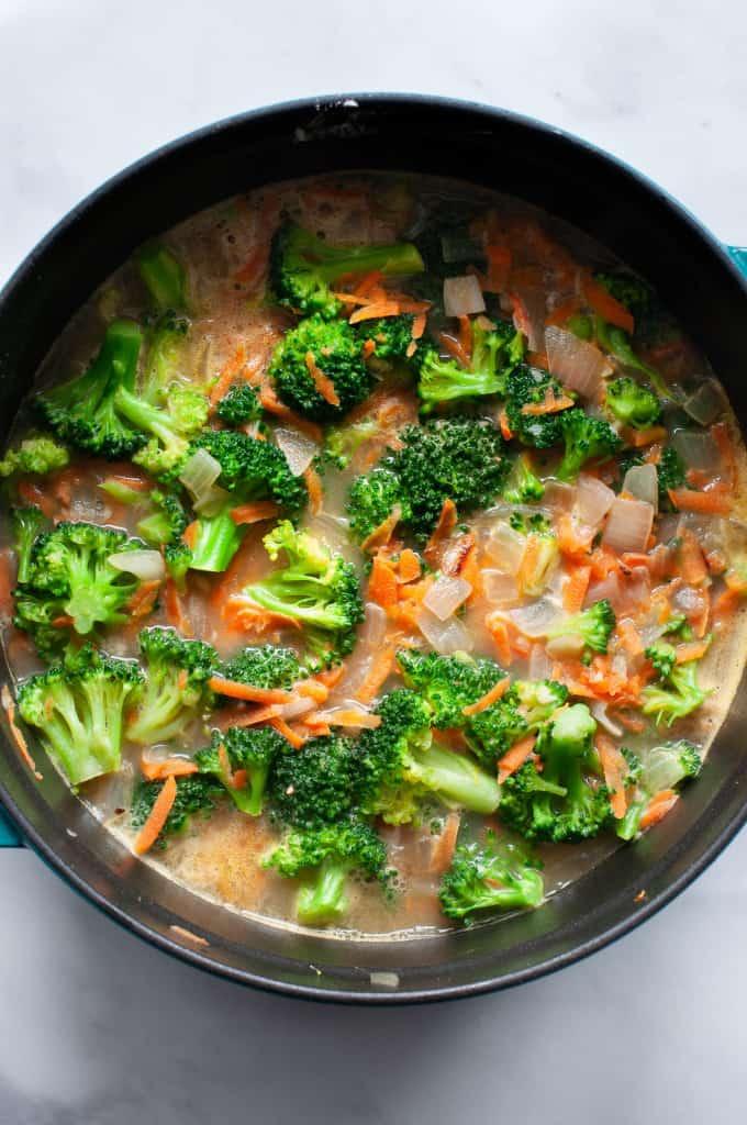making broccoli cheddar soup