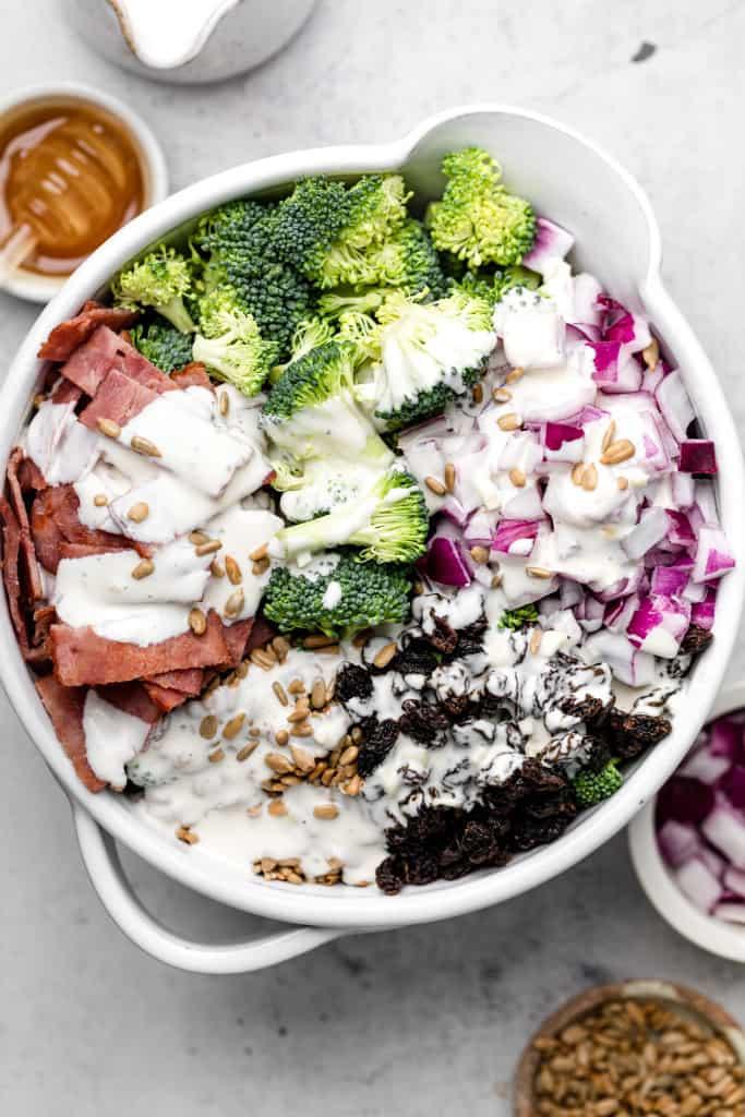 making broccoli salad