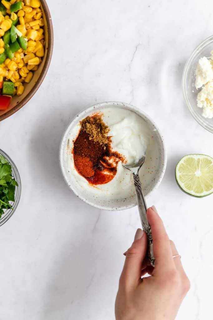 making mexican corn salad