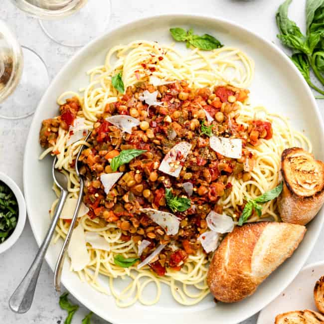 lentil bolognese with pasta