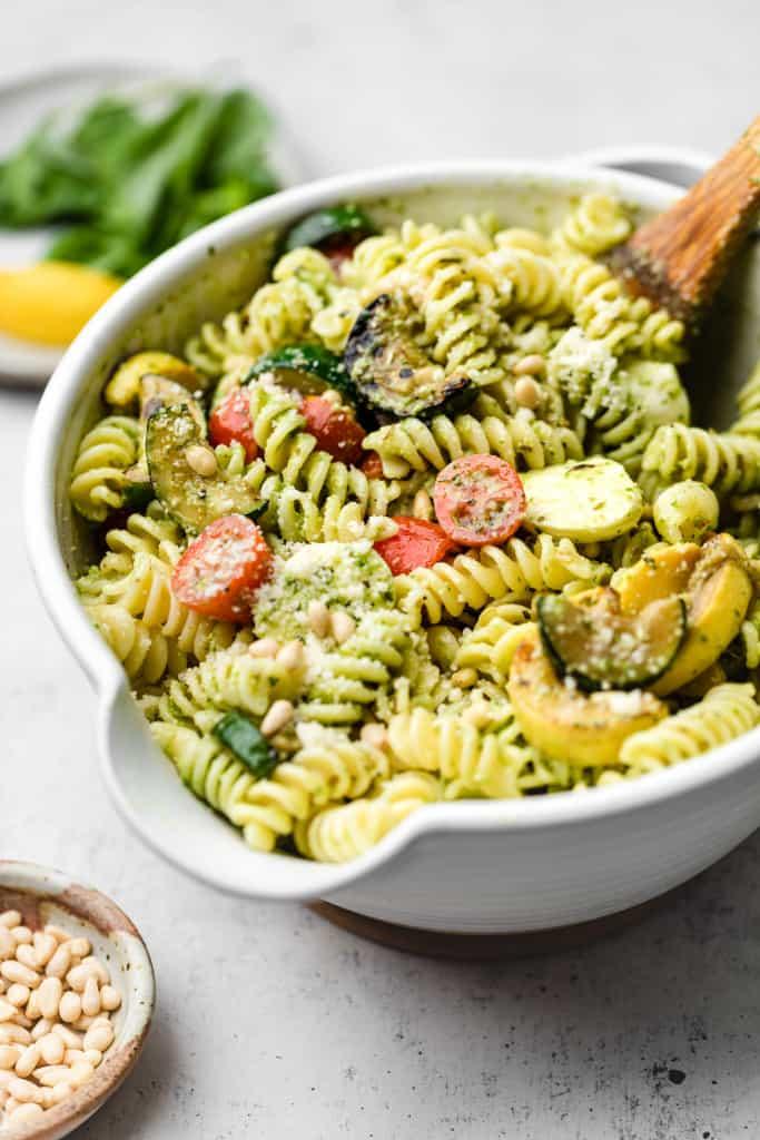 making pesto pasta salad