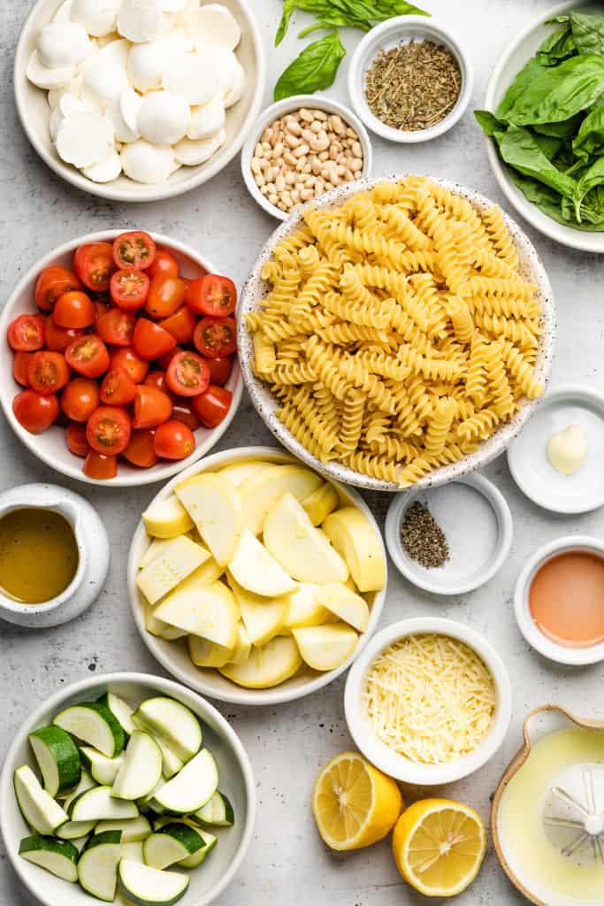 making summer pesto pasta