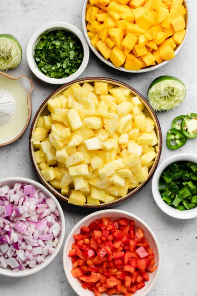 making pineapple salsa
