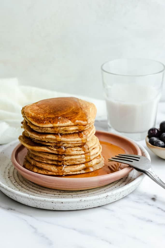 protein pancakes stacked