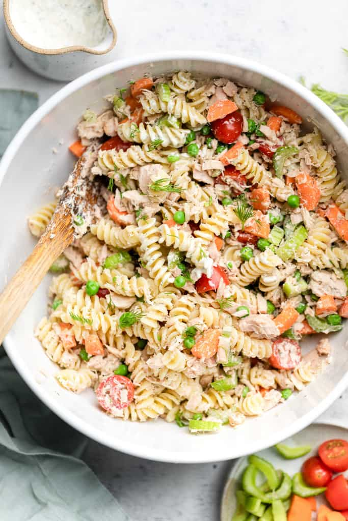 making tuna pasta salad