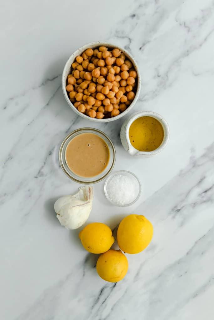 making lemon garlic hummus