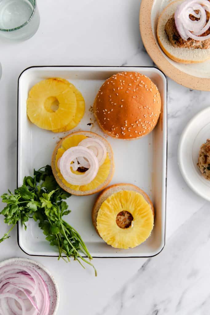making pineapple turkey burgers