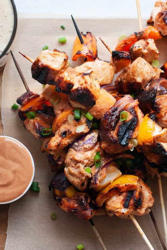 honey BBQ chicken skewers