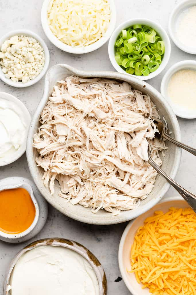 ingredients for healthy buffalo chicken dip