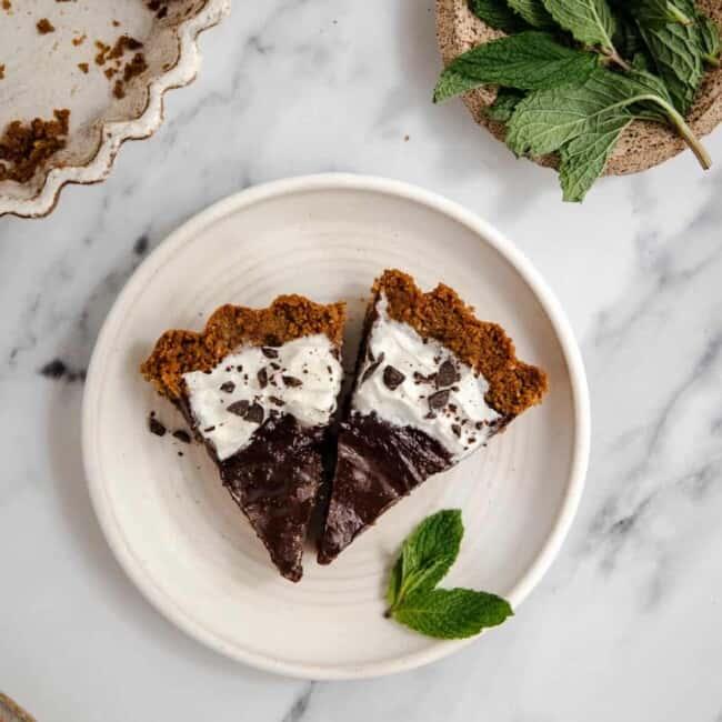 vegan mint chocolate tart