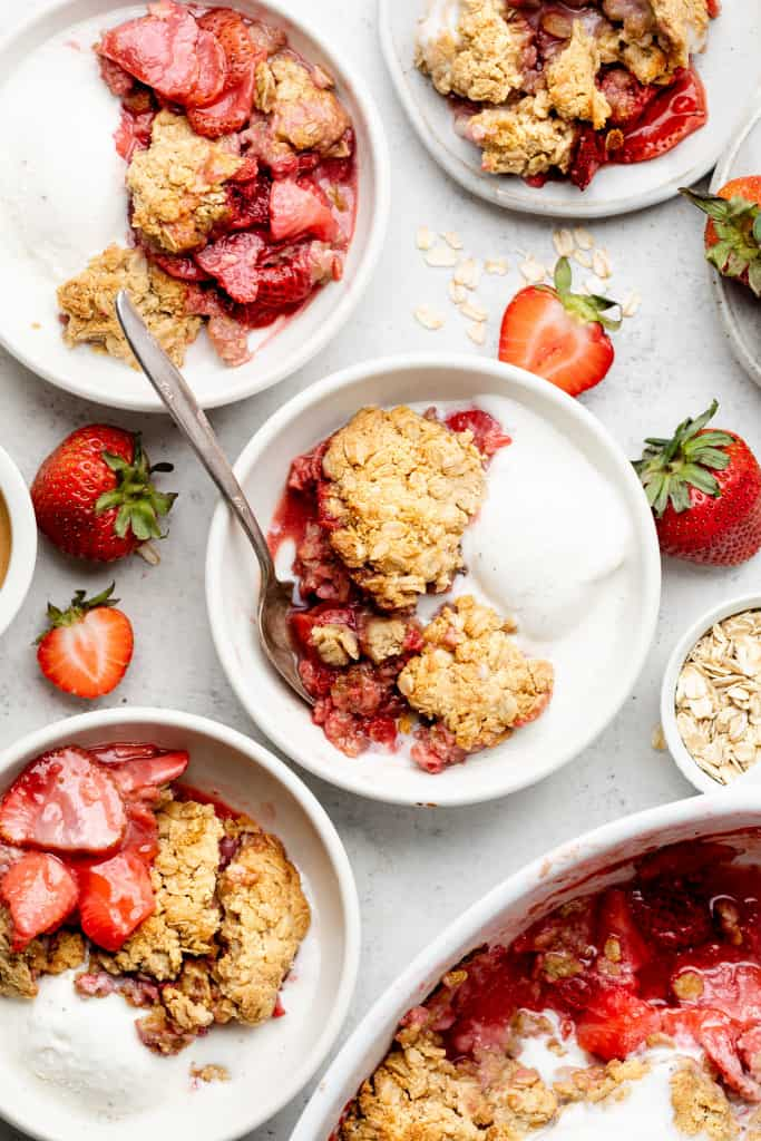 peanut butter and strawberry crumble