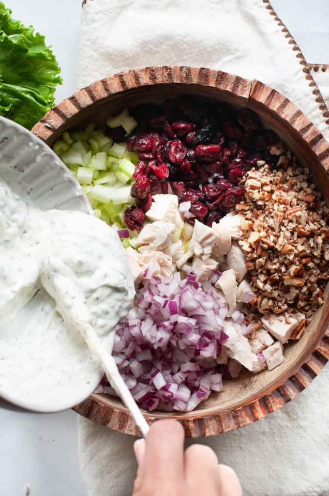 making healthy chicken salad