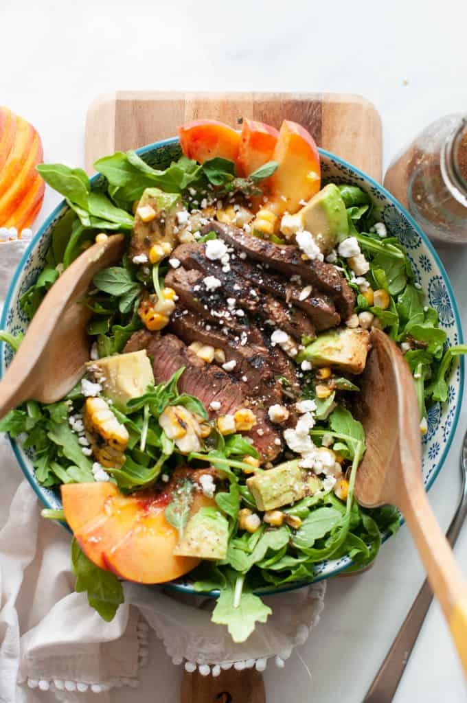 grilled steak and peach salad