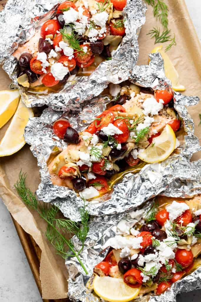 greek salmon foil packets