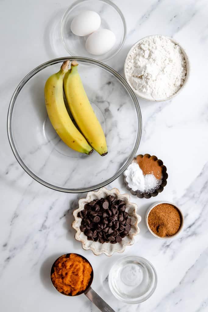 making pumpkin banana muffins